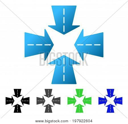 Merge Directions flat vector pictograph. Colored merge directions gradiented, gray, black, blue, green icon variants. Flat icon style for application design.