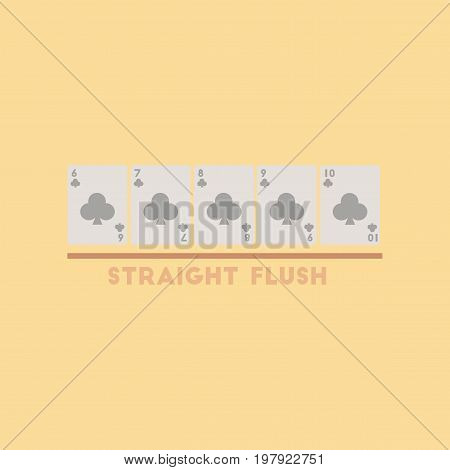 flat icon on stylish background poker straight flush