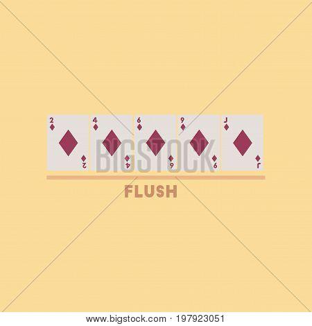 flat icon on stylish background poker flush cards