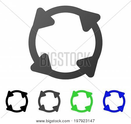 Rotate flat vector pictograph. Colored rotate gradient, gray, black, blue, green pictogram versions. Flat icon style for application design.