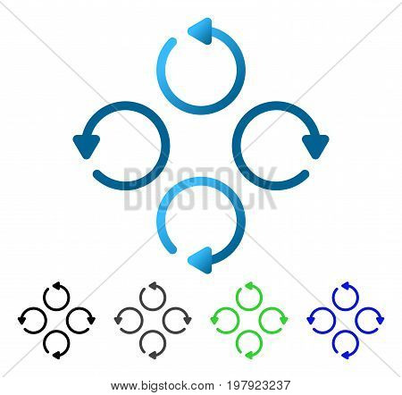 Rotation flat vector pictogram. Colored rotation gradient, gray, black, blue, green icon versions. Flat icon style for application design.