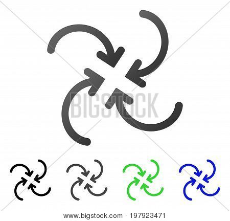 Whirl Arrows flat vector pictogram. Colored whirl arrows gradient, gray, black, blue, green icon variants. Flat icon style for graphic design.