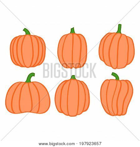 Autumn collection of linear pumpkins, halloween pumpkin set, vector pumpkin, EPS 8