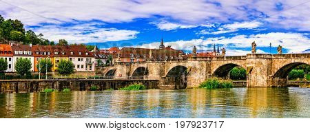 Medieval beautiful towns of Germany - Wurzburg. View with old bridge. Northen Bavaria