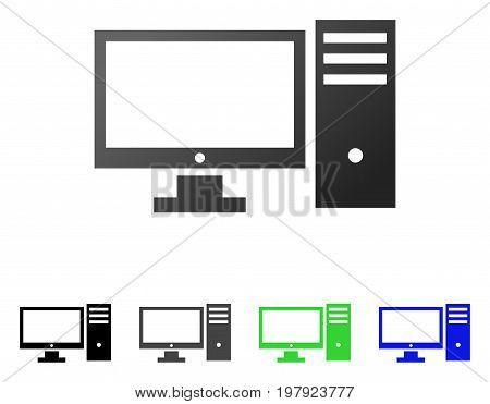 Desktop Computer flat vector illustration. Colored desktop computer gradiented, gray, black, blue, green icon versions. Flat icon style for application design.