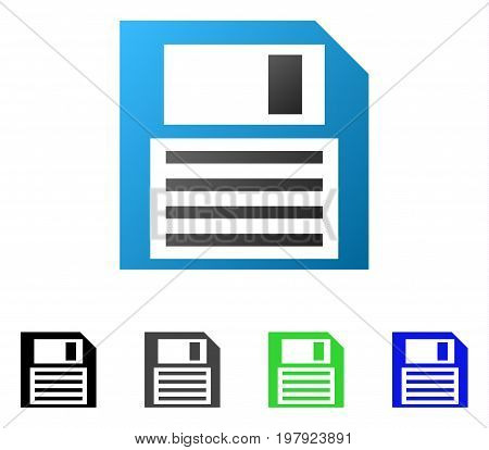 Floppy Disk flat vector pictograph. Colored floppy disk gradient, gray, black, blue, green pictogram variants. Flat icon style for web design.