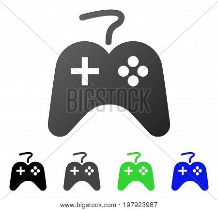 Game Controller flat vector pictograph. Colored game controller gradiented, gray, black, blue, green icon versions. Flat icon style for application design.