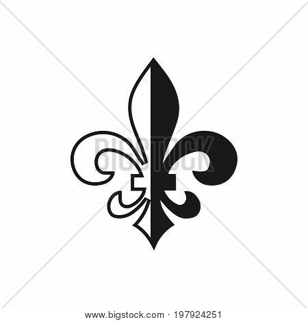 Fleur De Lis Symbol, Silhouette - Heraldic Symbol. Vector Illustration. Medieval Sign. Glowing Frenc