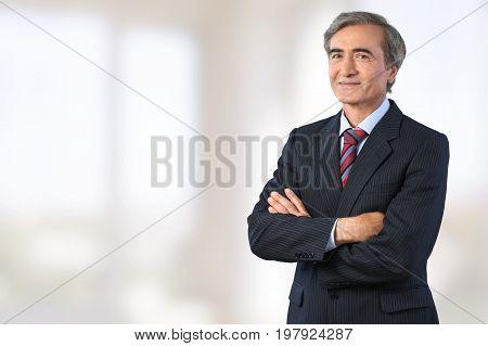 Business man senior man face color blue background