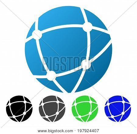Network Sphere flat vector pictograph. Colored network sphere gradiented, gray, black, blue, green pictogram versions. Flat icon style for application design.
