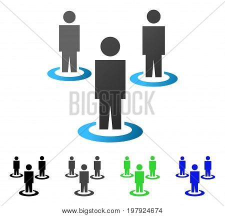 People Portals flat vector pictogram. Colored people portals gradiented, gray, black, blue, green pictogram variants. Flat icon style for web design.