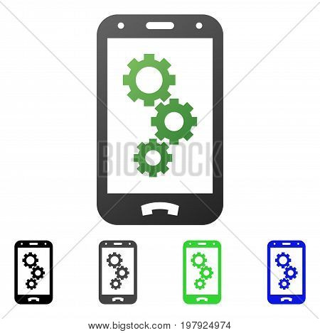 Smartphone Gears flat vector icon. Colored smartphone gears gradiented, gray, black, blue, green pictogram variants. Flat icon style for web design.