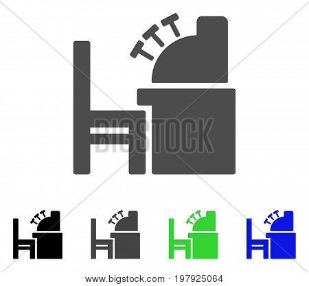 Accounting Office flat vector pictograph. Colored accounting office, gray, black, blue, green icon variants. Flat icon style for application design.