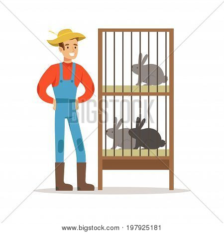 Smiling farmer standing next to rabbit cages, farming and agriculture vector Illustration on a white background