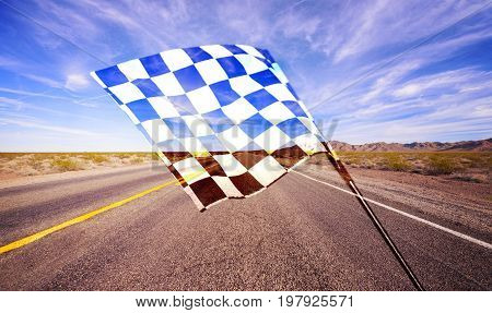 Flag waving check checkered checker chequered flag car racing