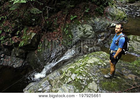 Canyoning - Young man in the canyon
