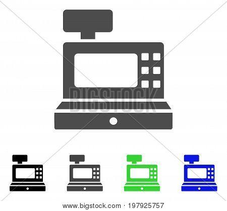 Cash Machine flat vector pictograph. Colored cash machine, gray, black, blue, green pictogram versions. Flat icon style for web design.