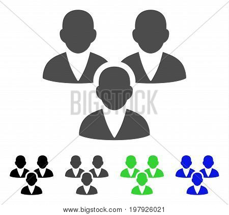 Customer Group flat vector icon. Colored customer group, gray, black, blue, green icon versions. Flat icon style for graphic design.