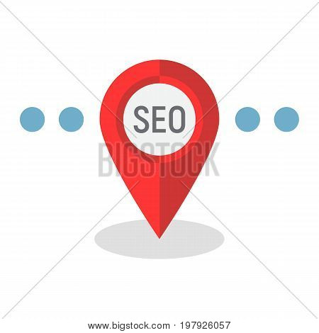 Local SEO flat icon, seo and development, pin sign vector graphics, a colorful solid pattern on a white background, eps 10.