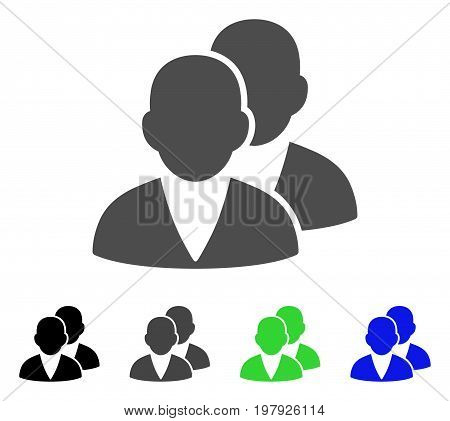 Customers flat vector pictogram. Colored customers, gray, black, blue, green icon variants. Flat icon style for web design.