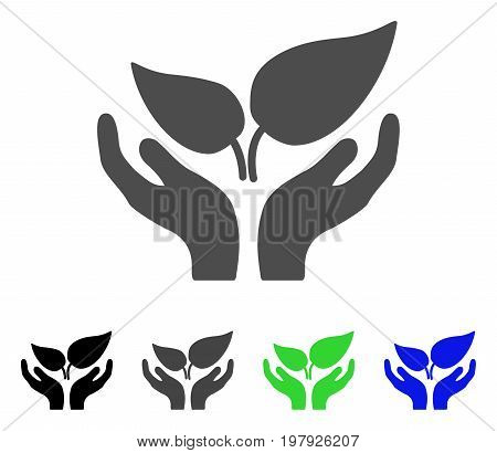 Eco Startup Care Hands flat vector icon. Colored eco startup care hands, gray, black, blue, green icon variants. Flat icon style for web design.