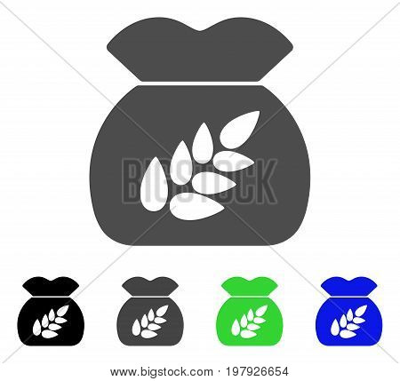 Grain Harvest Sack flat vector pictogram. Colored grain harvest sack, gray, black, blue, green icon versions. Flat icon style for graphic design.