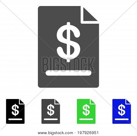 Invoice flat vector illustration. Colored invoice, gray, black, blue, green icon versions. Flat icon style for application design.