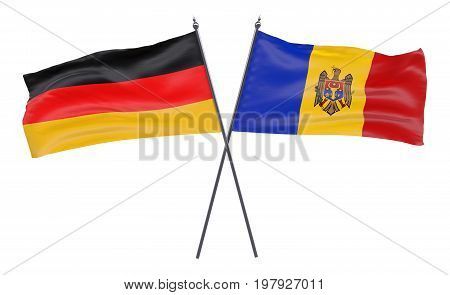 Germany and Moldova, two crossed flags isolated on white background. 3d image