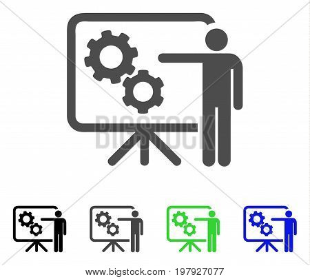 Mechanical Gears Project Board flat vector illustration. Colored mechanical gears project board, gray, black, blue, green icon variants. Flat icon style for graphic design.
