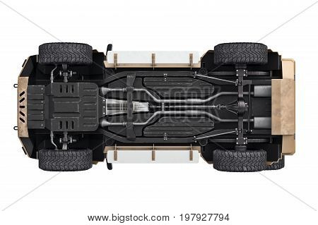 Suv car suspension transport 4wd, bottom view. 3D rendering
