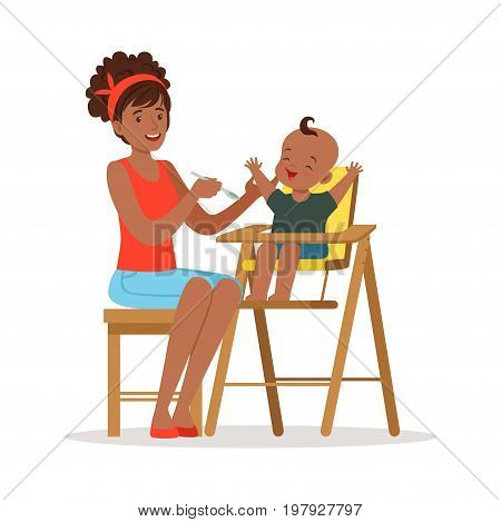 Happy young african mother feeding her baby in highchair, colorful vector Illustration on a white background