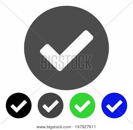 Yes flat vector illustration. Colored yes, gray, black, blue, green icon variants. Flat icon style for web design.