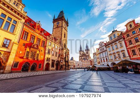 Fantastic scene of the town hall in sunlight. Popular tourist attraction. Location famous place old town square on Prague, Czech Republic, Europe. Unesco heritage. Beauty world.