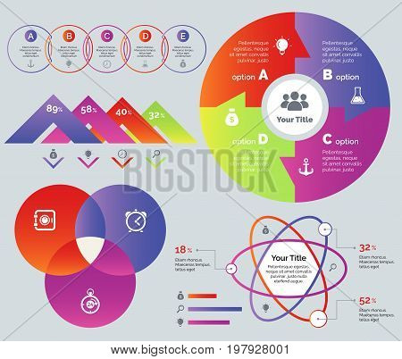 Business strategy set. Can be used for infographic design, workflow layout, annual report. Business concept. Venn flow chart Comparison percentage diagram Donut chart Venn graph Atom percentage chart