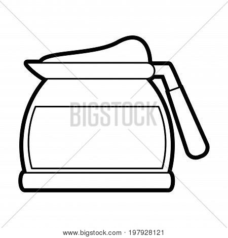 pot coffee related icon image vector illustration design black line