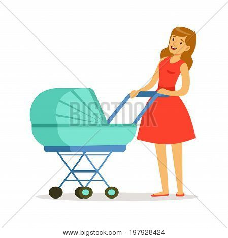Beautiful young mother in red dress walking with her newborn baby in a blue pram colorful vector Illustration on a white background