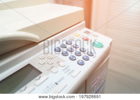 Digital laser copier desktop multifunction close up