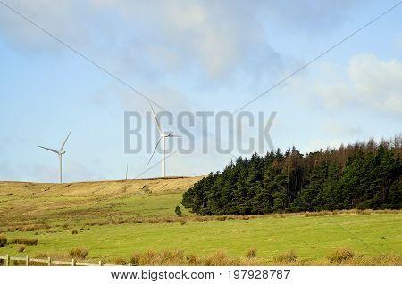 Wind turbines on the hills of Oswaldtwistle in Blackburn