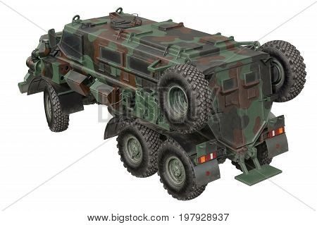 Truck military defense transportation camouflaged car. 3D rendering