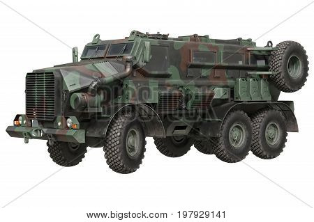 Truck military camouflaged armored car transportation. 3D rendering