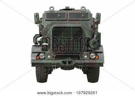Truck military camouflaged modern transportation car, front view. 3D rendering
