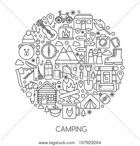 Camping, hiking tools and Equipment in circle - concept line vector illustration for cover, emblem, badge. Outline icons set