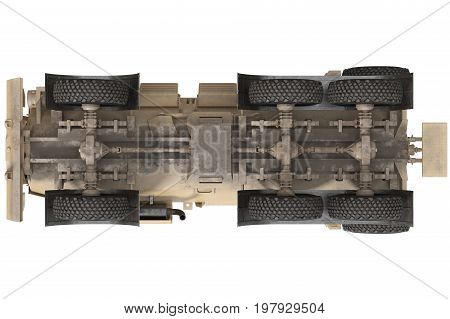 Truck military armored transport vehicle, bottom view. 3D rendering