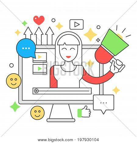 Video blogger flat line concept. Computer screen with female woman blogger. Personal blogging channel broadcasting thin outline stroke vector illustration