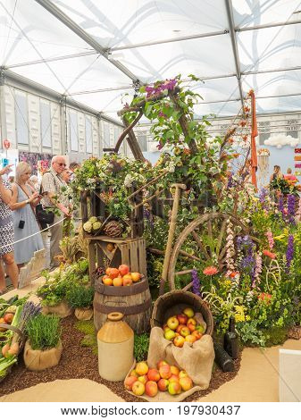 LONDON UK - MAY 25 2017: RHS Chelsea Flower Show 2017. The world's most prestigious flower show displaying the best in garden design. Visitors observing displays in the Grand Pavilion.