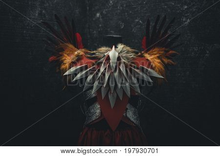 Back, Silver armor for women. Carries pieces of gold and fabrics and feathers in red color