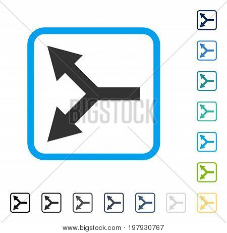 Bifurcation Arrow Left icon inside rounded rectangle frame. Vector illustration style is a flat iconic symbol in some color versions.
