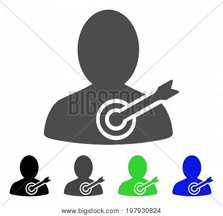 Aim Person flat vector pictogram. Colored aim person, gray, black, blue, green icon variants. Flat icon style for graphic design.