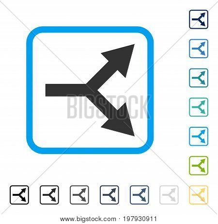 Bifurcation Arrow Right icon inside rounded rectangle frame. Vector illustration style is a flat iconic symbol in some color versions.