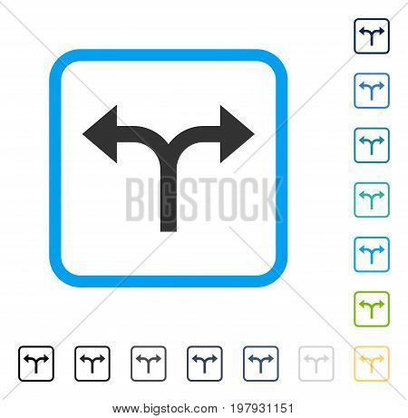 Bifurcation Arrows Left Right icon inside rounded square frame. Vector illustration style is a flat iconic symbol in some color versions.